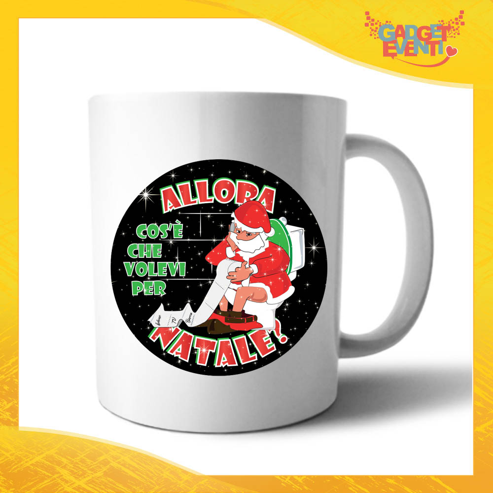 """Tazza Natalizia Personalizzata Grafica Nera """"Cosa Volevi per Natale"""" Mug Colazione Breakfast Idea Regalo Festività Natalizie Gadget Eventi"""