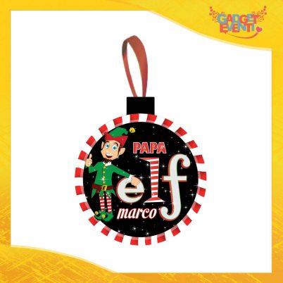 """Addobbo Natalizio Palla Grafica Nera Modello Uomo """"Elf Family"""" Appendino per Albero e Decorazioni Idea Regalo Natalizia Originale Gadget Eventi"""