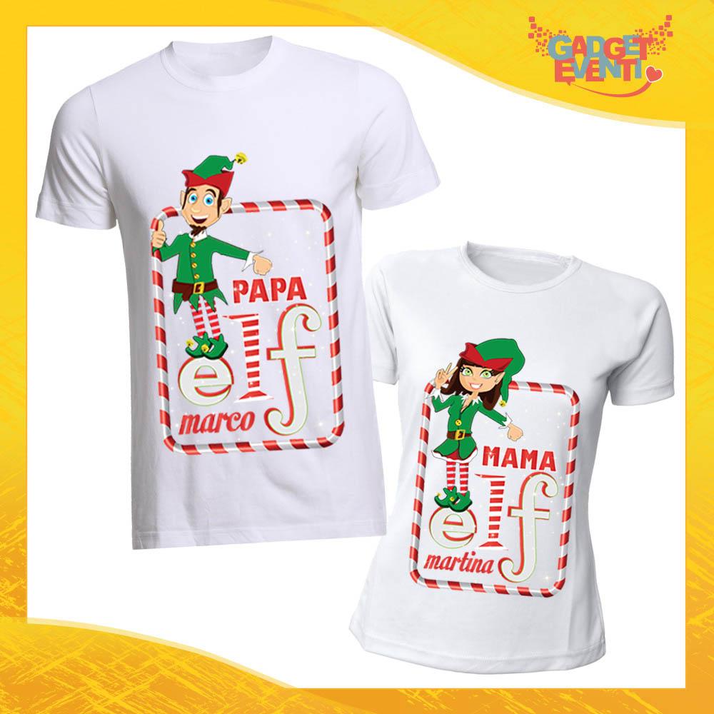 """Coppia di T-Shirt Natalizie Bianche con Nome Personalizzato """"Elf Family"""" Magliette per Uomo e Donna Maglie Originali Idea Regalo Periodo Natalizio Gadget Eventi"""