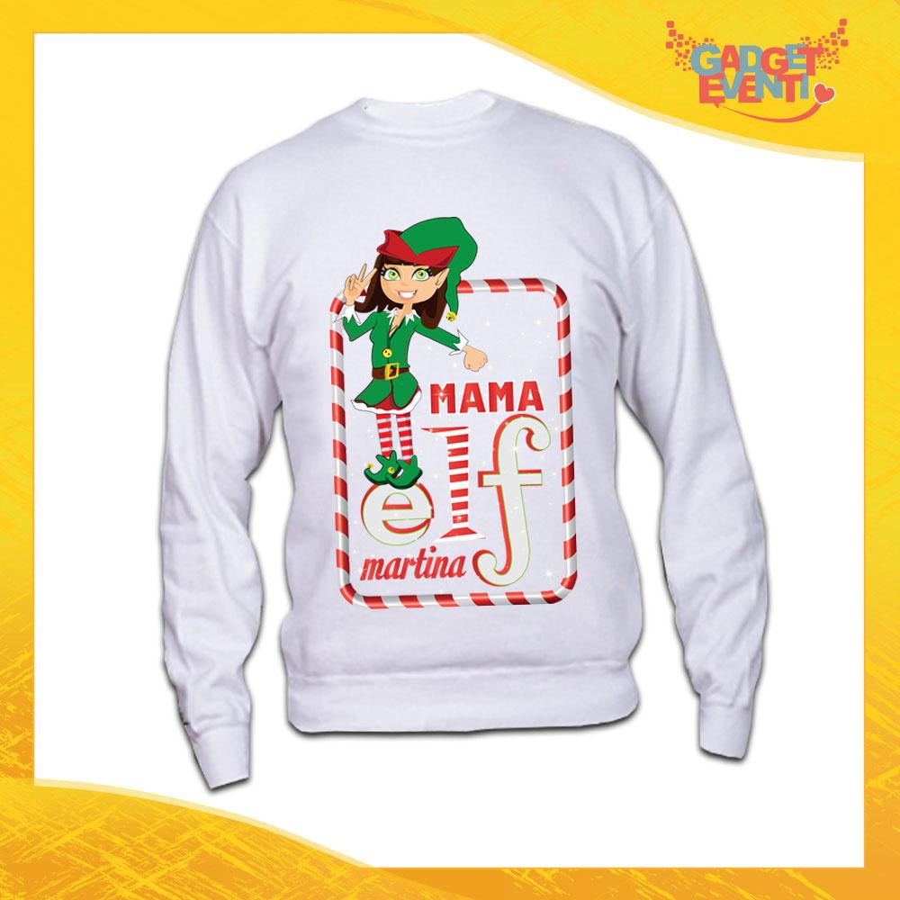 """Felpa Donna Natalizia Bianca """"Elf Family"""" Girocollo o con Cappuccio Maglia per l'inverno Maglione Natalizio Idea Regalo Gadget Eventi"""