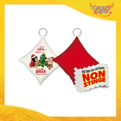 """Mini Cuscino Natalizio Personalizzato Retro Rosso Grafica Bianca """"Palle al Sicuro"""" Mini Federa Natalizia Idea Regalo Gadget Eventi"""