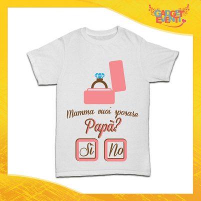 """Maglietta Bianca Bimbo """"Mamma Vuoi Sposare Papà"""" Idea Regalo T-Shirt Gadget Eventi"""