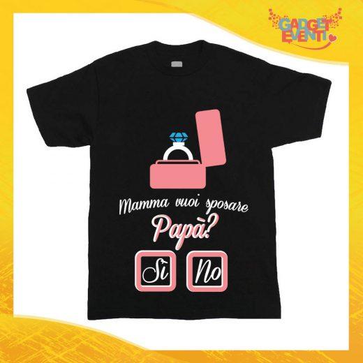 """Maglietta Nera Bimbo """"Mamma Vuoi Sposare Papà"""" Idea Regalo T-Shirt Gadget Eventi"""