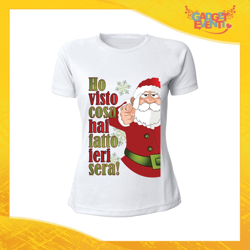 """T-Shirt Donna Natalizia Bianca """"Ho visto cosa hai fatto"""" Maglietta per l'inverno Maglia Natalizia Idea Regalo Gadget Eventi"""