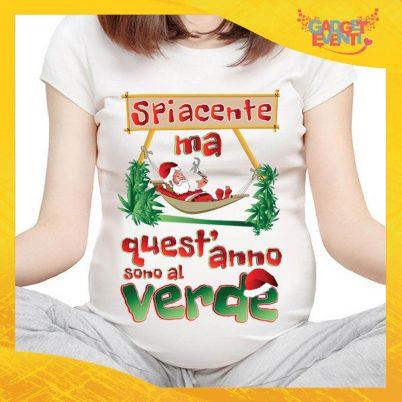 """T-Shirt Premaman Bianca Personalizzata """"Quest'anno sono al Verde"""" Maglia per Mamme in dolce attesa Idea Regalo Maglietta Femminile Comoda per Donne con Pancione Gadget Eventi"""