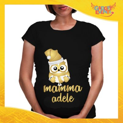 """T-Shirt Premaman Nera Personalizzata """"Famiglia dei Gufi"""" Maglia manica corta o manica lunga per Mamme in dolce attesa Idea Regalo Maglietta Femminile Comoda per Donne con Pancione Gadget Eventi"""