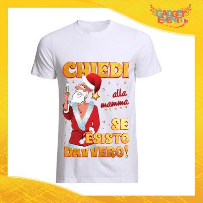 """T-Shirt Uomo Natalizia Bianca """"Chiedi alla Mamma"""" Maglietta per l'inverno Maglia Natalizia Idea Regalo Gadget Eventi"""