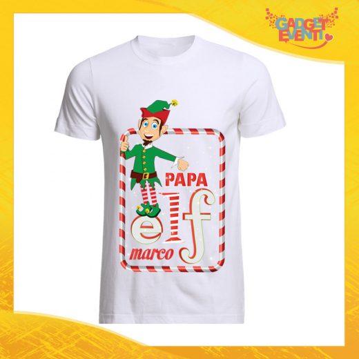 """T-Shirt Uomo Natalizia Bianca """"Elf Family"""" Maglietta per l'inverno Maglia Natalizia Idea Regalo Gadget Eventi"""