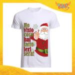 """T-Shirt Uomo Natalizia Bianca """"Ho visto cosa hai fatto"""" Maglietta per l'inverno Maglia Natalizia Idea Regalo Gadget Eventi"""