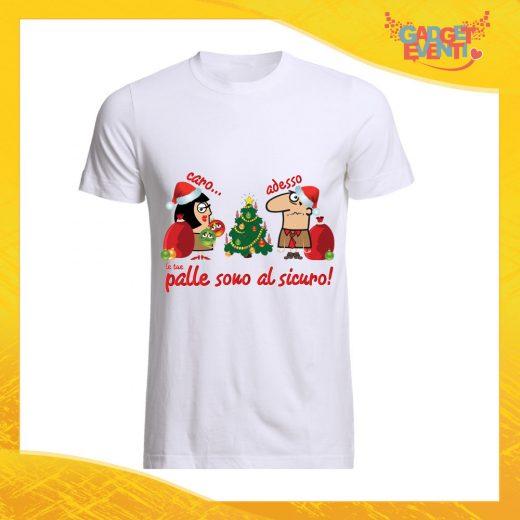 """T-Shirt Uomo Natalizia Bianca """"Palle al Sicuro"""" Maglietta per l'inverno Maglia Natalizia Idea Regalo Gadget Eventi"""