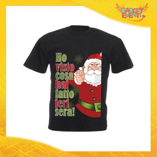 """T-Shirt Uomo Natalizia Nera """"Ho visto cosa hai fatto"""" Maglietta per l'inverno Maglia Natalizia Idea Regalo Gadget Eventi"""