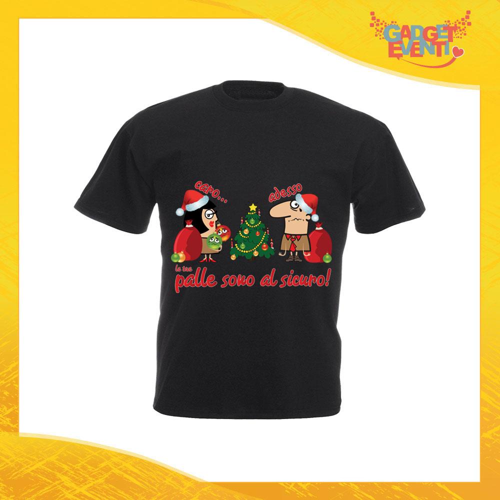 """T-Shirt Uomo Natalizia Nera """"Palle al Sicuro"""" Maglietta per l'inverno Maglia Natalizia Idea Regalo Gadget Eventi"""
