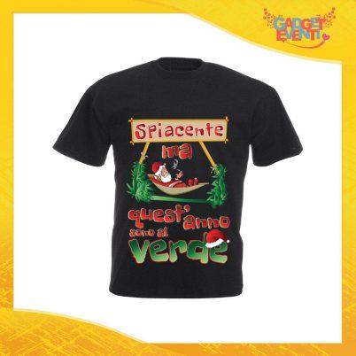 """T-Shirt Uomo Natalizia Nera """"Quest'anno sono al Verde"""" Maglietta per l'inverno Maglia Natalizia Idea Regalo Gadget Eventi"""