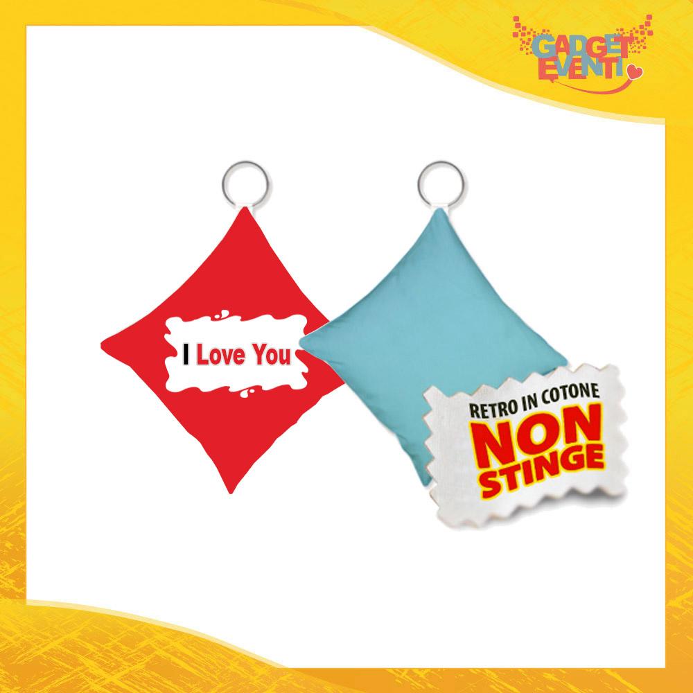 """Mini Cuscino di San Valentino Personalizzato Retro Celeste """"I Love You Barretta"""" Mini Federa dell'amore Idea Regalo per Innamorati Gadget Eventi"""