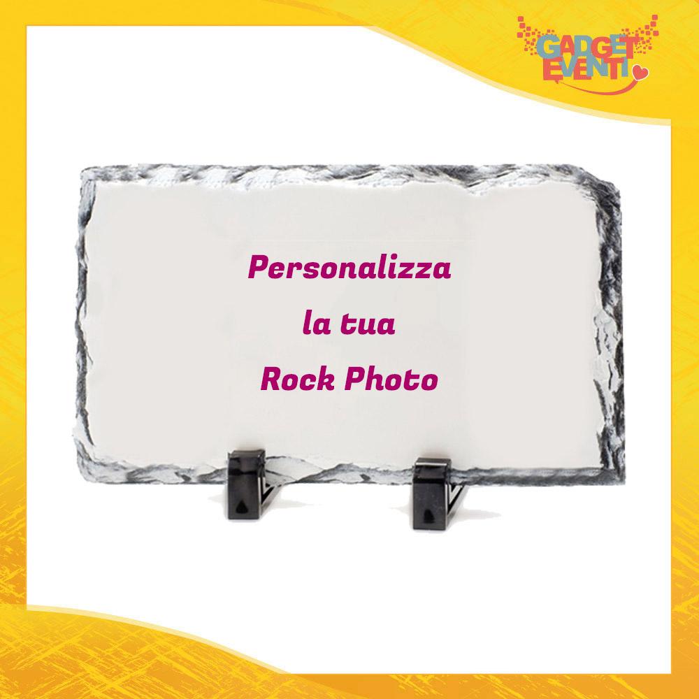 Rock Photo Pietra Rettangolare con Supporti da Tavolo personalizzata con Foto Testi e Immagini Simpatica Idea Regalo Gadget Eventi