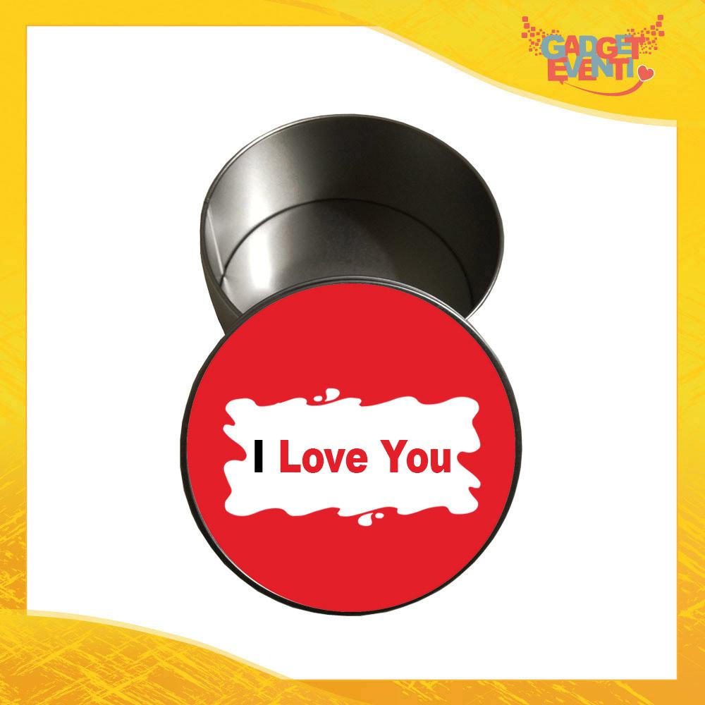 """Scatola in Metallo Tonda """"I Love You Barretta"""" Personalizzata per San Valentino Idea Regalo Porta Regali per Innamorati Gadget Eventi"""