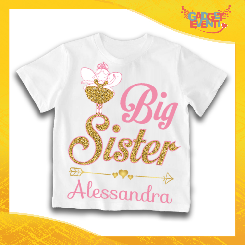 """Maglietta Bianca Femminuccia Bimba """"Big Sister"""" Idea Regalo T-Shirt Gadget Eventi"""