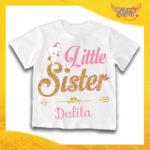 "Maglietta Bianca Femminuccia Bimba ""Little Sister"" Idea Regalo T-Shirt Gadget Eventi"