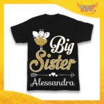 "Maglietta Nera Femminuccia Bimba ""Big Sister"" Idea Regalo T-Shirt Gadget Eventi"