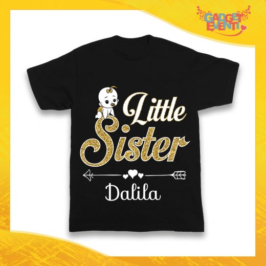 "Maglietta Nera Femminuccia Bimba ""Little Sister"" Idea Regalo T-Shirt Gadget Eventi"