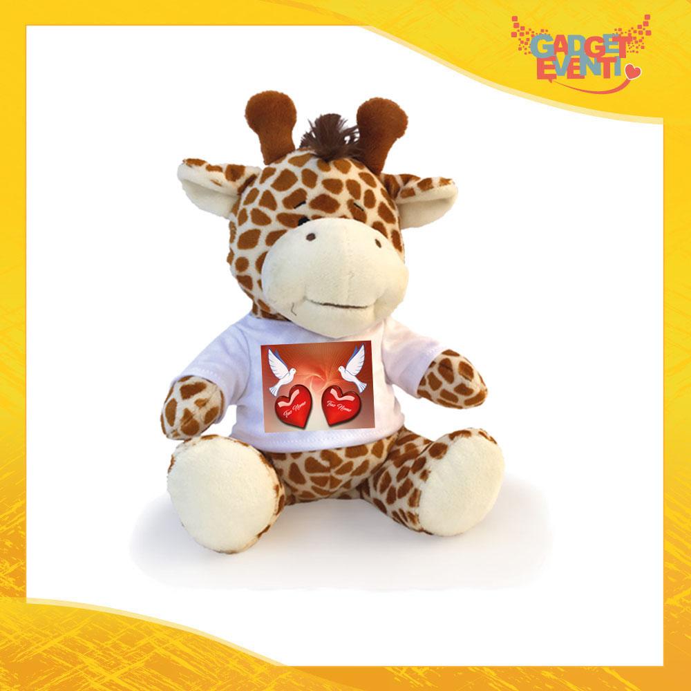 """Peluche Love Pupazzo a forma di Giraffa """"Colombe e Cuori con Nome"""" Pupazzetto di San Valentino Idea Regalo per Innamorati Gadget Eventi"""