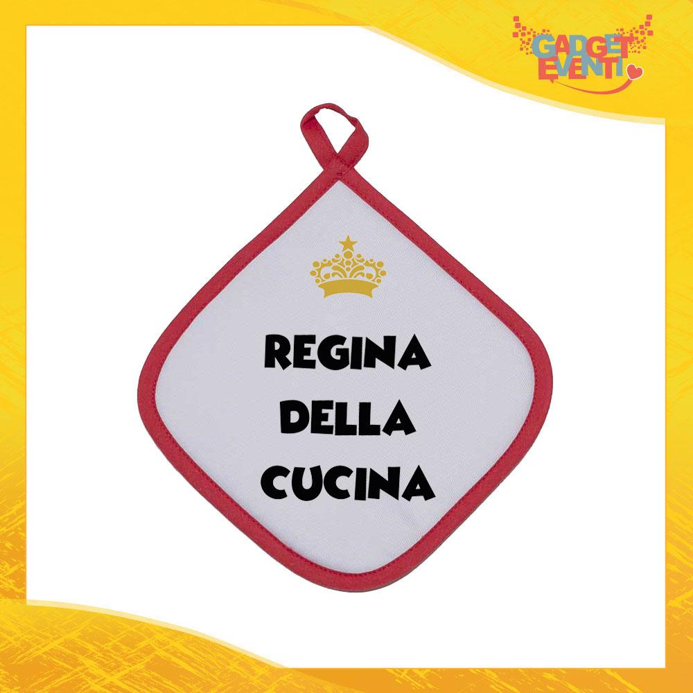 """Presina da Cucina Bordo Rosso """"Regina della Cucina"""" Anti Scottatura in diversi colori Idea Regalo Cuochi per la Casa e la Ristorazione Gadget Eventi"""
