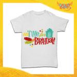 """T-Shirt Bimbo per Compleanni Bianca """"Time For Birthday"""" Maglietta per Bambini Idea Regalo per Feste di Compleanno Gadget Eventi"""