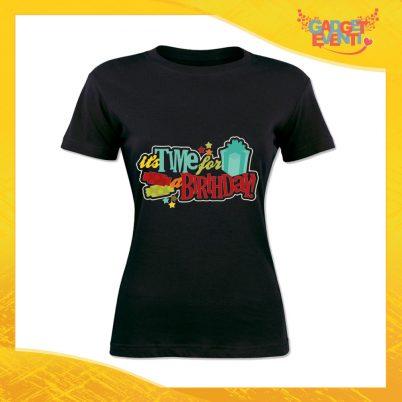 """T-Shirt Donna per Compleanni Nera """"Time For Birthday"""" Maglietta Idea Regalo Maglia per Feste di Compleanno Gadget Eventi"""
