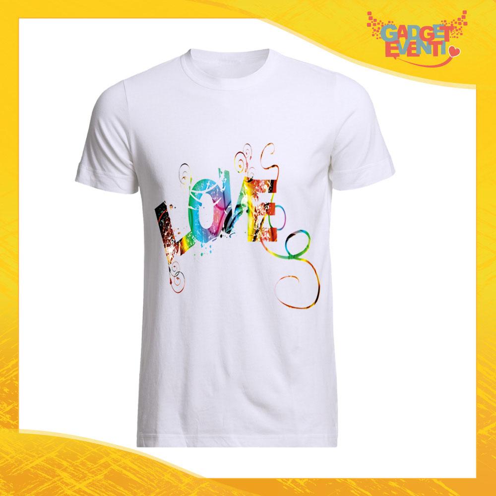 """T-Shirt Uomo Love Bianca """"Love Colored"""" Maglietta Idea Regalo Maglia per Innamorati Gadget Eventi"""