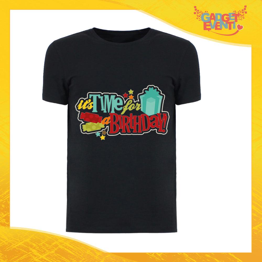 """T-Shirt Uomo Compleanni Nera """"Time For Birthday"""" Maglietta Idea Regalo Maglia per Feste di Compleanno Gadget Eventi"""