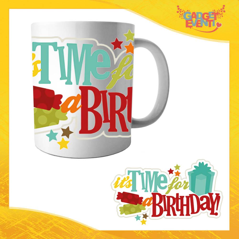 """Tazza per Compleanni """"Time For Birthday"""" Mug Idea Regalo per Feste di Compleanno Gadget Eventi"""