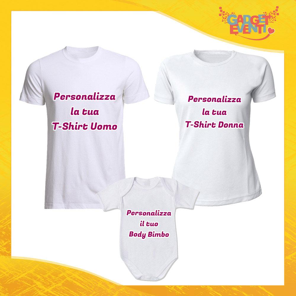 Personalizza il tuo Tris di T-Shirt Bianche con Body Set di Magliette Padre Madre e Figlio Gadget Eventi