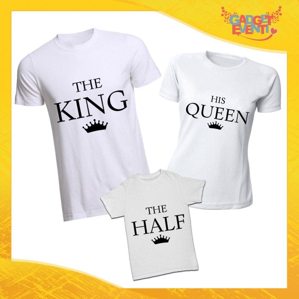 """Tris di T-Shirt bianche """"Famiglia Reale"""" Magliette per Tutta la Famiglia Completo di Maglie Padre Madre Figli Idea Regalo Gadget Eventi"""