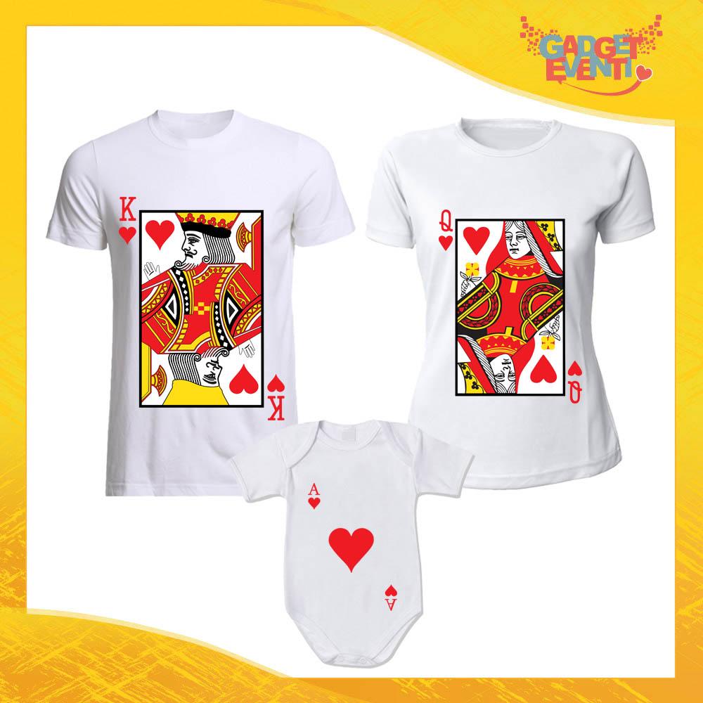 """Tris di T-Shirt bianche con Body """"Carte da Ramino"""" Magliette per Tutta la Famiglia Completo di Maglie Padre Madre Figli Idea Regalo Gadget Eventi"""