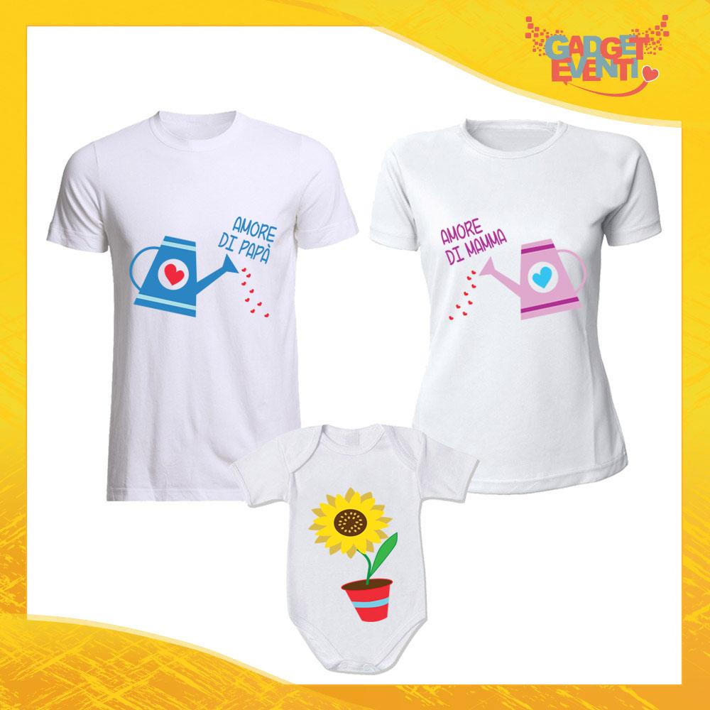 """Tris di T-Shirt bianche con Body """"Doppio Amore"""" Magliette per Tutta la Famiglia Completo di Maglie Padre Madre Figli Idea Regalo Gadget Eventi"""