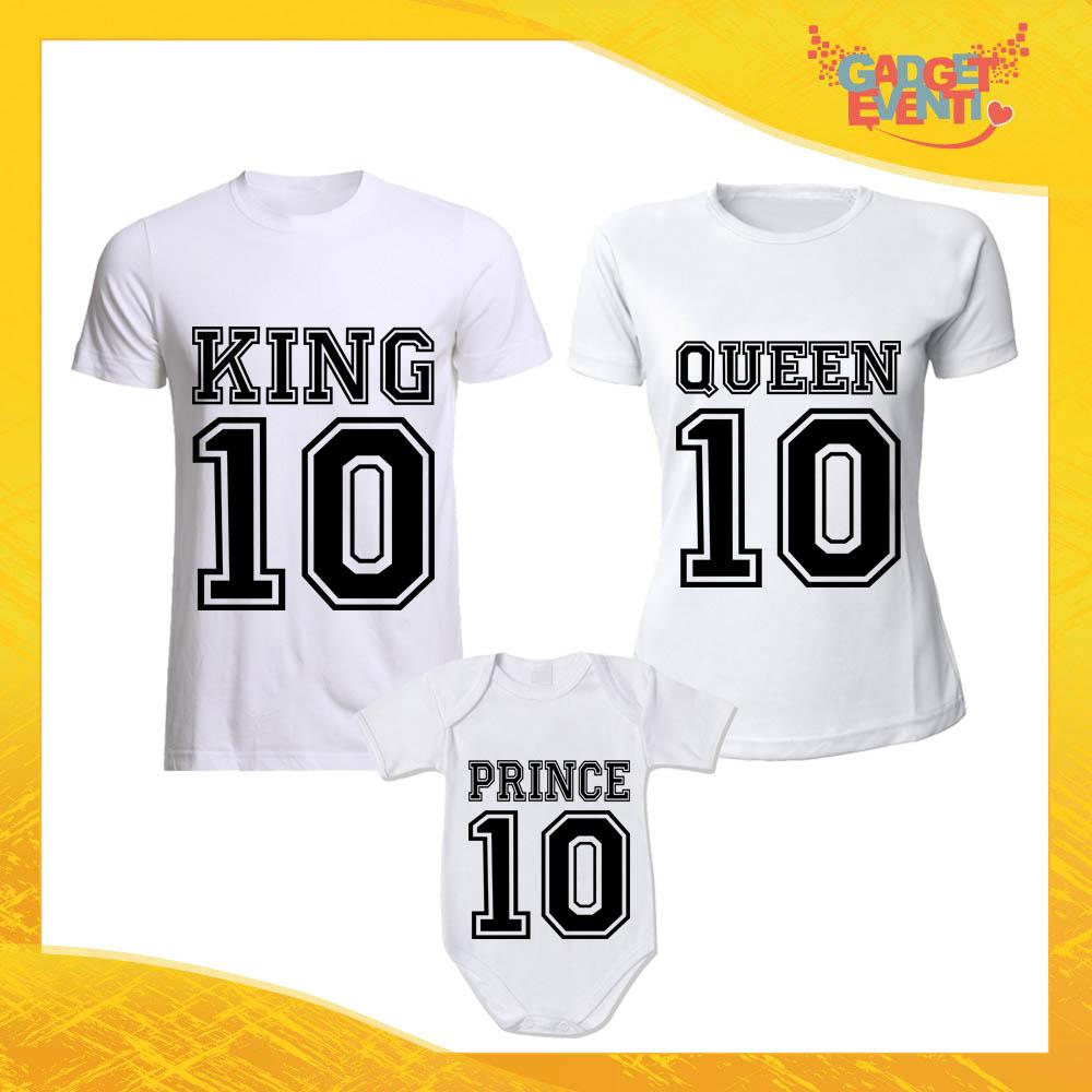"""Tris di T-Shirt Bianche con Body """"Famiglia Reale con Numero"""" Magliette per Tutta la Famiglia Completo di Maglie Padre Madre Figli Idea Regalo Gadget Eventi"""