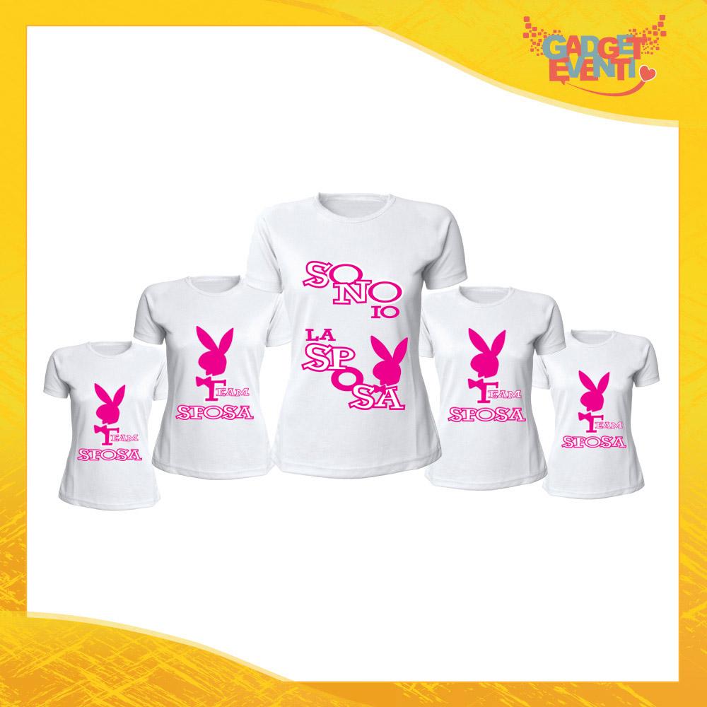 """Pacchetto T-Shirt Donna Bianche con Grafica Standard """"Sono Io La Sposa"""" Magliette Femminili per Addio al Nubilato Feste e Party Esclusivi Gadget Eventi"""