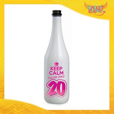 """Bottiglia da Vino Personalizzata """"Keep Calm Twenty"""" Grafica Fucsia Bottiglie per Compleanni Idea Regalo Originale per Feste di Compleanno Gadget Eventi"""