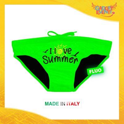 """Costume da Uomo Verde Fluo """"Love Summer"""" Slip Maschile Articolo Estivo per il Mare Gadget Eventi"""