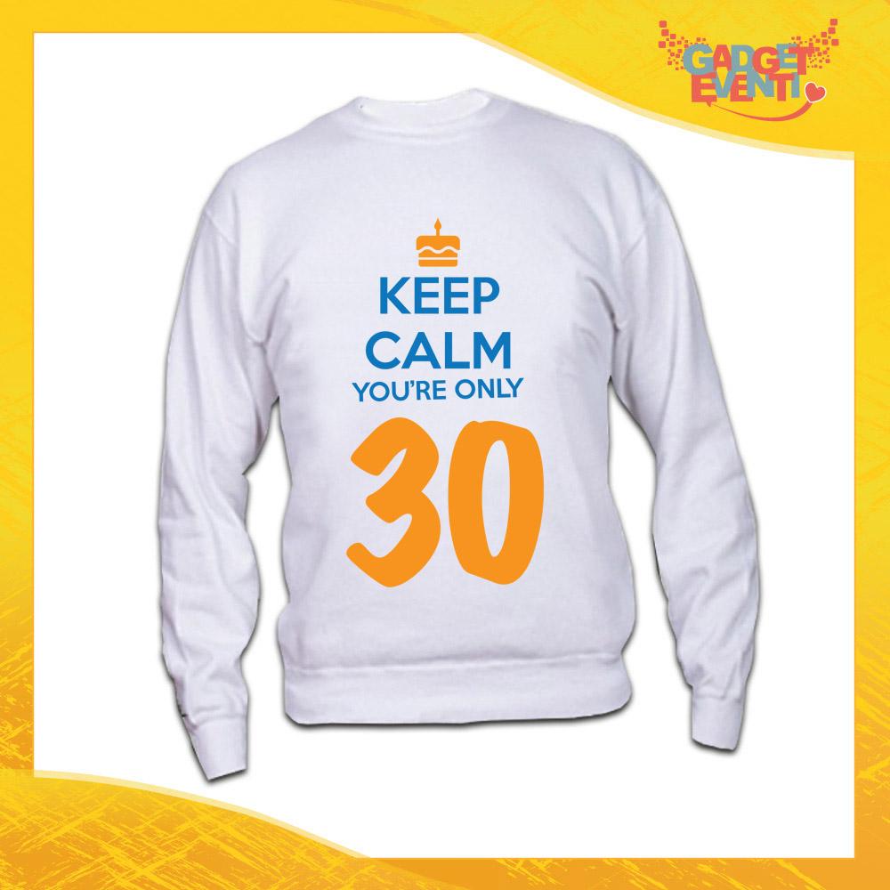 """Felpa Bianca """"Keep Calm Thirty"""" Maglia Birthday per Feste di Compleanno Idea Regalo per Compleanni Gadget Eventi"""