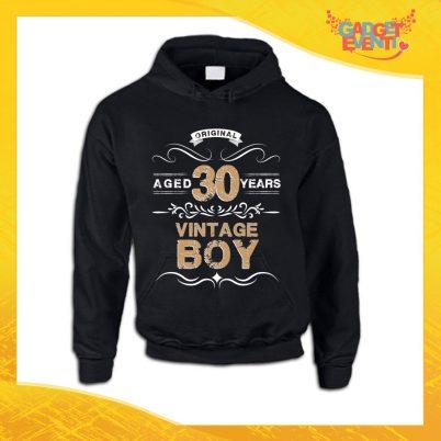 """Felpa Uomo Nera """"Vintage Boy"""" Maglia Maschile Birthday per Feste di Compleanno Idea Regalo per Compleanni Gadget Eventi"""