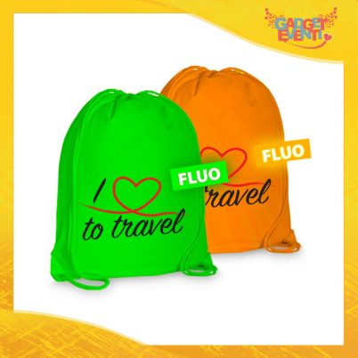 """Sacca Sport Personalizzata """"Love To Travel Cuore"""" Borsa Tracolla per il tempo libero Articolo Estivo Linea Mare Gadget Eventi"""