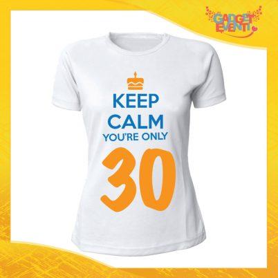 """T-Shirt Donna Bianca """"Keep Calm Thirty"""" Maglietta Femminile Birthday per Feste di Compleanno Idea Regalo per Compleanni Gadget Eventi"""