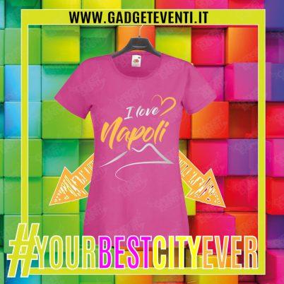 """T-Shirt Donna Fucsia """"I Love Napoli"""" Maglietta Estiva della tua Città Idea regalo gadget Eventi"""