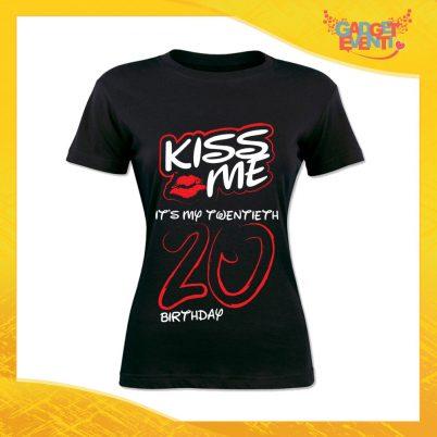 """T-Shirt Donna Nera """"Kiss Me Birthday"""" Maglietta Femminile Birthday per Feste di Compleanno Idea Regalo per Compleanni Gadget Eventi"""