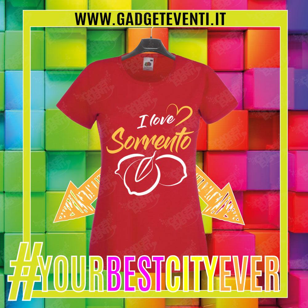 """T-Shirt Donna Rossa """"I Love Sorrento"""" Maglietta Estiva della tua Città Idea regalo gadget Eventi"""