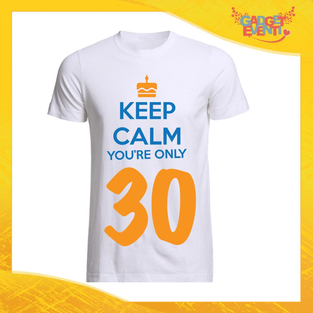 """T-Shirt Uomo Bianca """"Keep Calm Thirty"""" Maglietta Maschile Birthday per Feste di Compleanno Idea Regalo per Compleanni Gadget Eventi"""