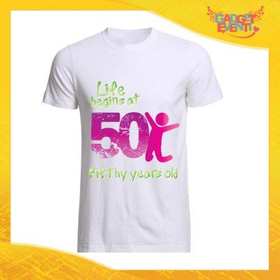 """T-Shirt Uomo Bianca """"Life Begin"""" Maglietta Maschile Birthday per Feste di Compleanno Idea Regalo per Compleanni Gadget Eventi"""