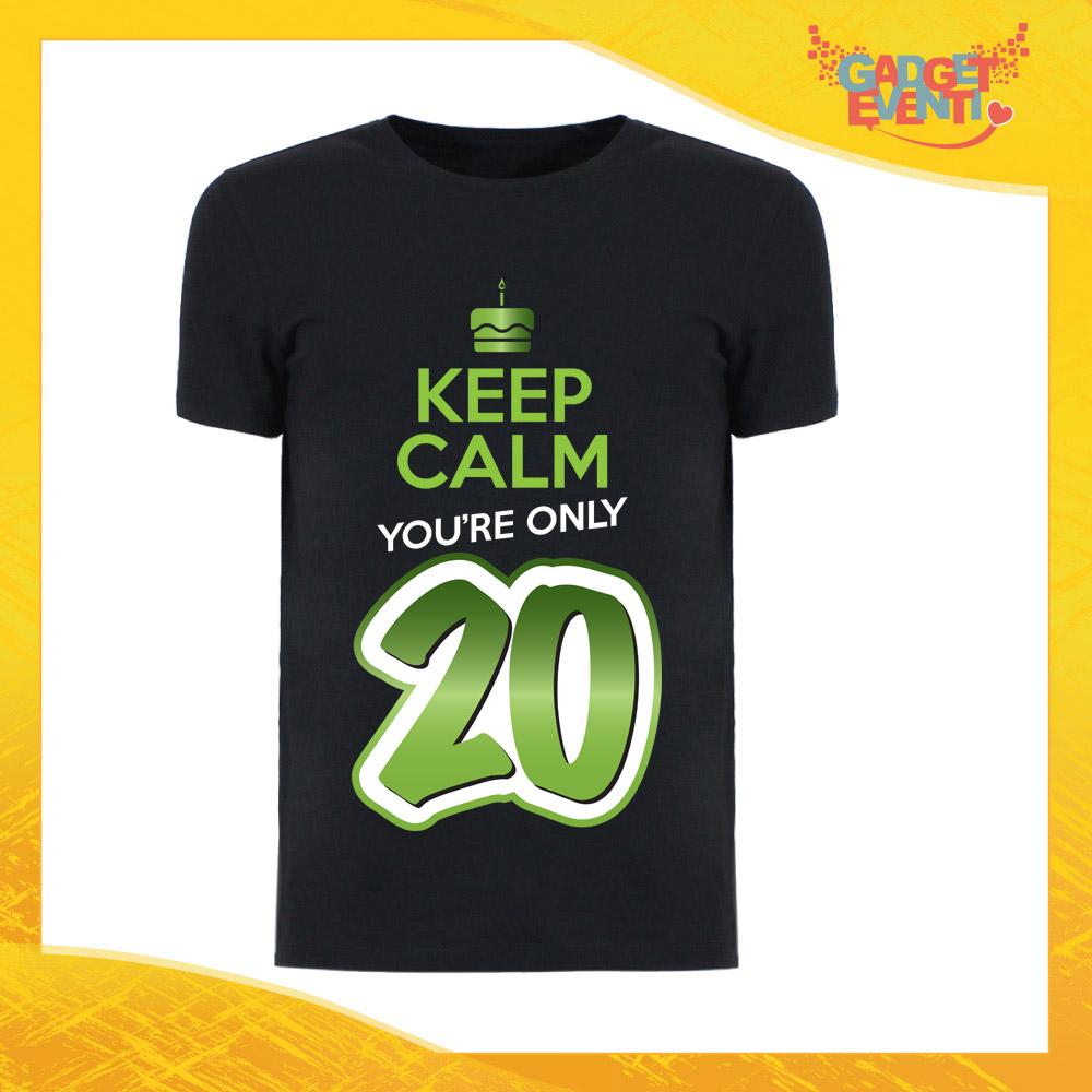 """T-Shirt Uomo Nera """"Keep Calm Twenty"""" Grafica Verde Maglietta Maschile Birthday per Feste di Compleanno Idea Regalo per Compleanni Gadget Eventi"""
