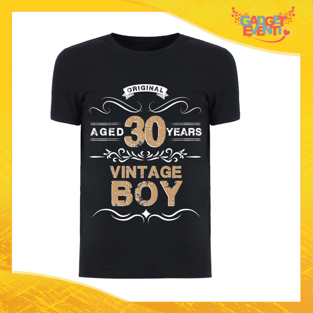 """T-Shirt Uomo Nera """"Vintage Boy"""" Maglietta Maschile Birthday per Feste di Compleanno Idea Regalo per Compleanni Gadget Eventi"""